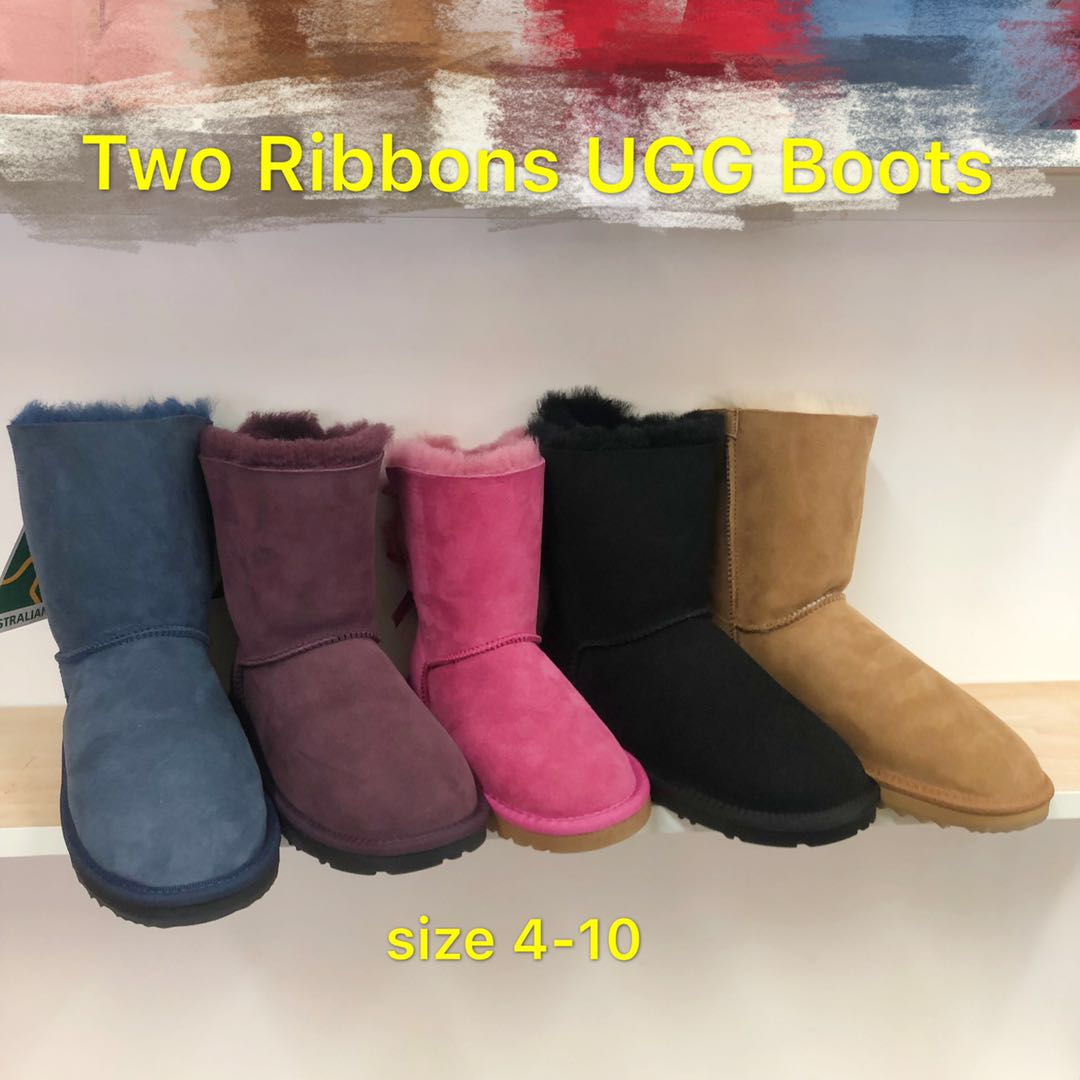 23115474cd1 Two Ribbon Sheepskin Mid UGG Boots