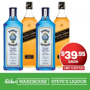 Johnnie Walker Black Label or Bombay Sapphire Gin 700ml