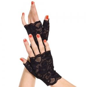 Music Legs - Lace Fingerless Black Gloves