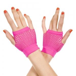 Music Legs - Thick Diamond Net Neon Pink Gloves
