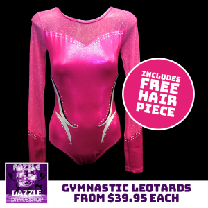 Gymnastic Leotards with Free Hair Piece Offer