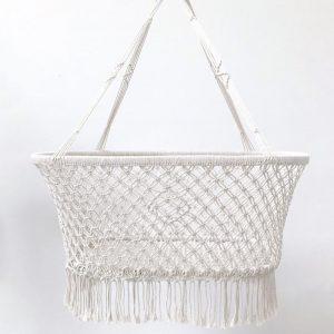 Macrame Hanging Baby Bassinet - White