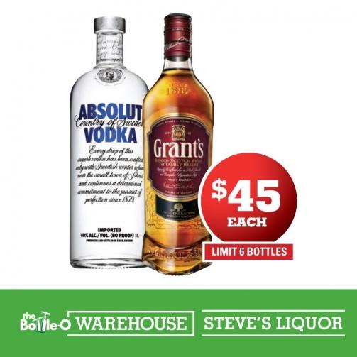 Steves Liquor_Grants Scotch Absolut Vodka_Mar2019