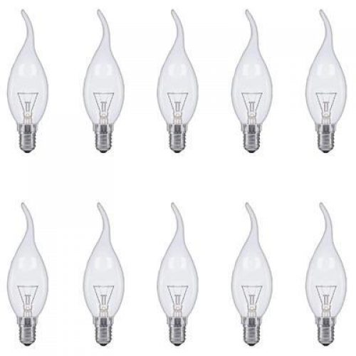 E14 FLAME TIP FANCY CHANDELIER CANDLE GLOBES PACK OF 10 CLEAR