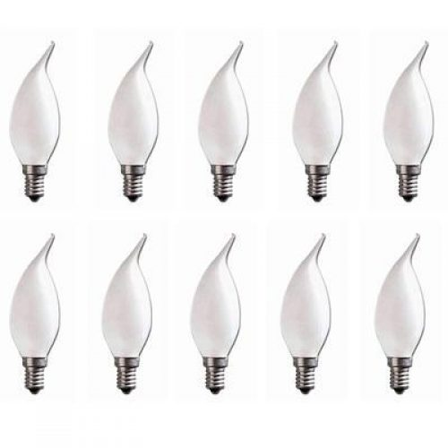 E14 FLAME TIP FANCY CHANDELIER CANDLE GLOBES PACK OF 10 FROSTED