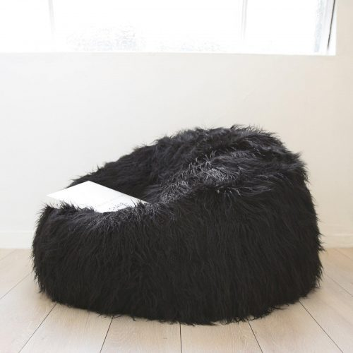 IVD214 black fur shaggy beanbag 1 1600x1600