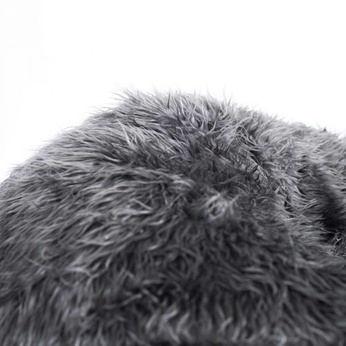 IVD508 charcoal grey fur bean bag polo detail 1800x1800