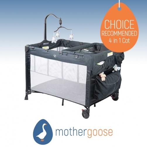 Mother Goose Steelcraft 4 in 1 Grey Melange Portable Cot