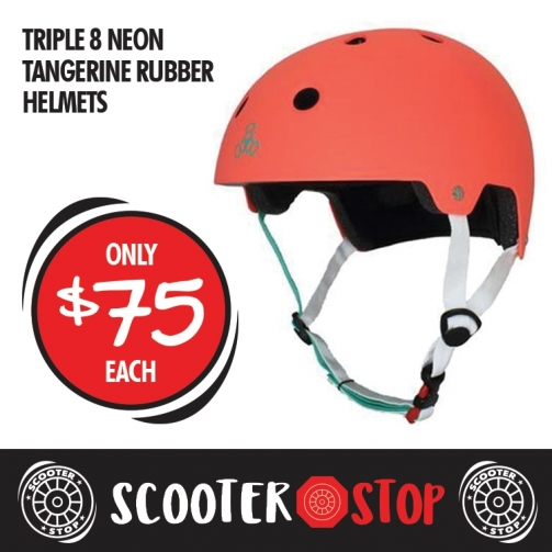 Scooter Shop Triple 8 Neon Tangerine Helmet