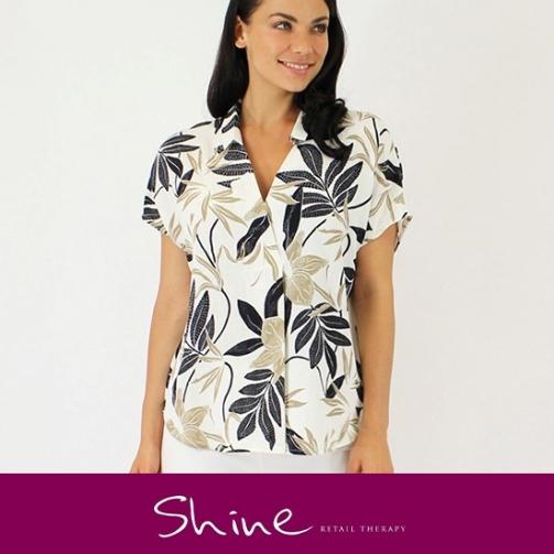 Shine Leaf Pattern Shirt