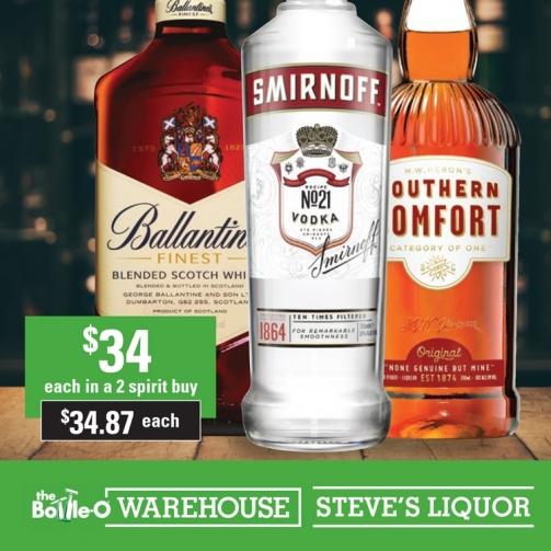 Steves Ballantines Smirnoff Southern Comfort