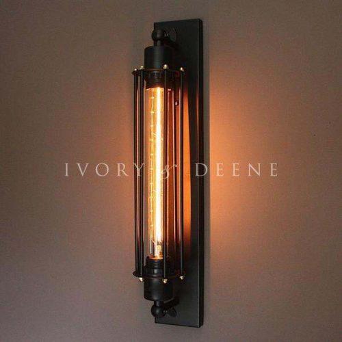 WALL SCONCE LAMP WITH FILAMENT GLOBE BLACK NARROW BASE 3