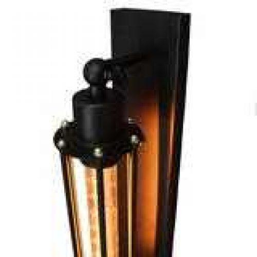 WALL SCONCE LAMP WITH FILAMENT GLOBE BLACK NARROW BASE 5
