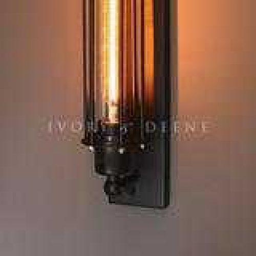 WALL SCONCE LAMP WITH FILAMENT GLOBE BLACK NARROW BASE 6