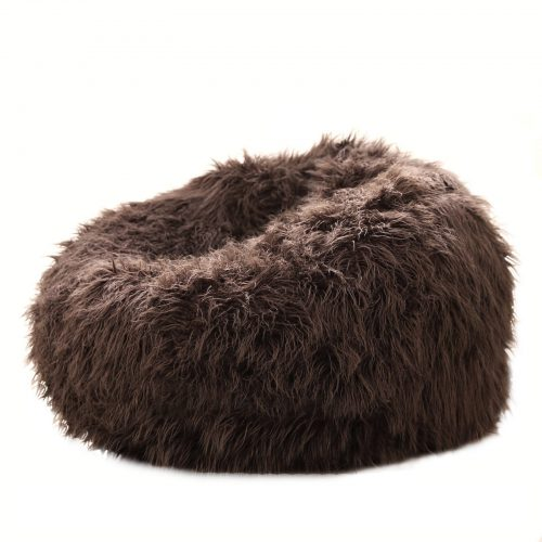 Chocolate brown shaggy fur beanbag 1600x1600