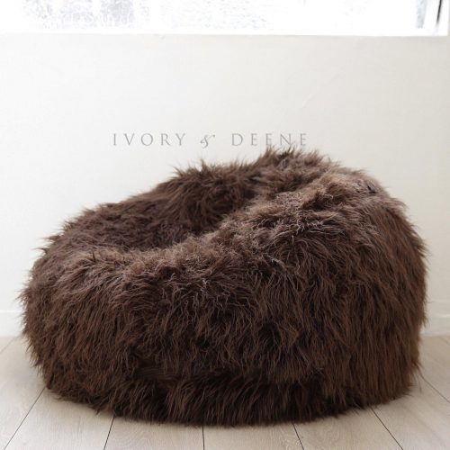 Chocolate brown shggy fur beanbag 1600x1600