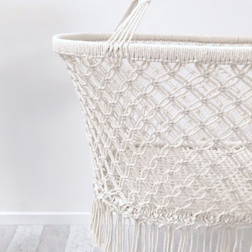 Macrame bassinet crib close up 1367x1800