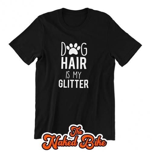 Naked Bike Dog Hair Glitter T Shirt 1