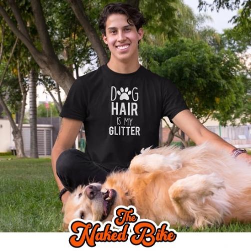 Naked Bike Dog Hair Glitter T Shirt 3