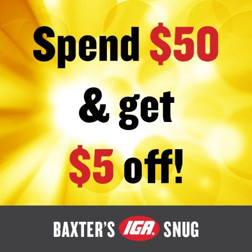 Baxters IGA Shop Tasmania Discount Offer