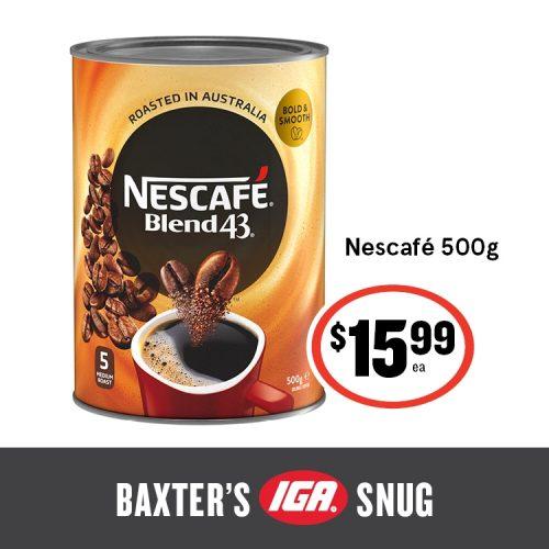 Baxters IGA Shop Tasmania Nescafe 500g