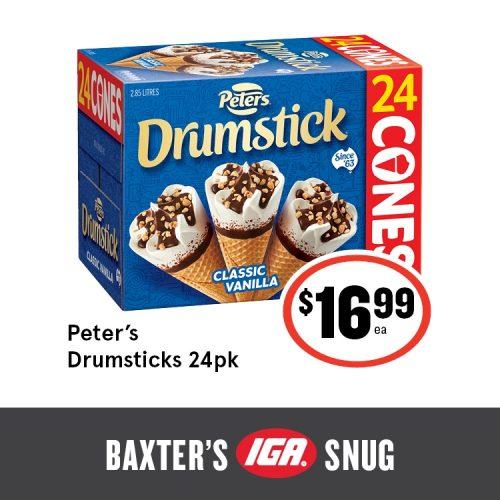 Baxters IGA Shop Tasmania Peters Drumsticks 24pk