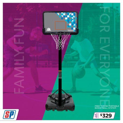 SP21 025 Family Fun Free Throw Portable Basketball System