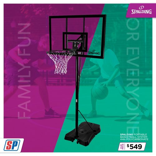 SP21 025 Family Fun Spalding Portable Basketball System 44in Polycarbonate