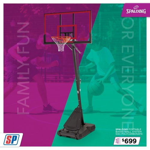 SP21 025 Family Fun Spalding Portable Basketball System 50in Polycarbonate