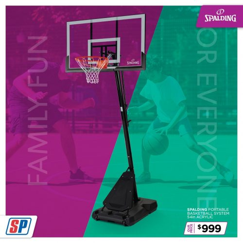 SP21 025 Family Fun Spalding Portable Basketball System 54in Acrylic