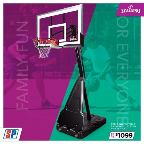 SP21 025 Family Fun Spalding Portable Basketball System 60in Acrylic