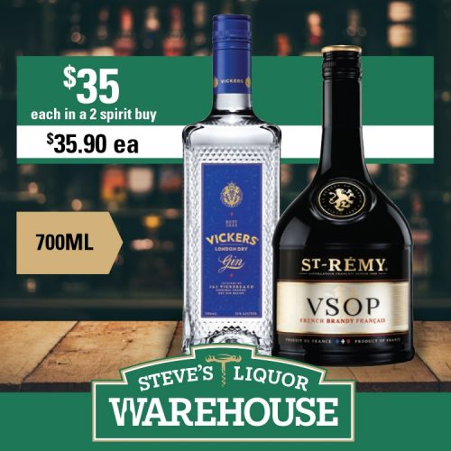Steves Vickers Gin St Remy 700ml