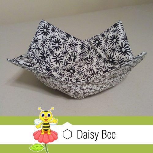Daisy Bee Bowl Cosies Black White Flowers