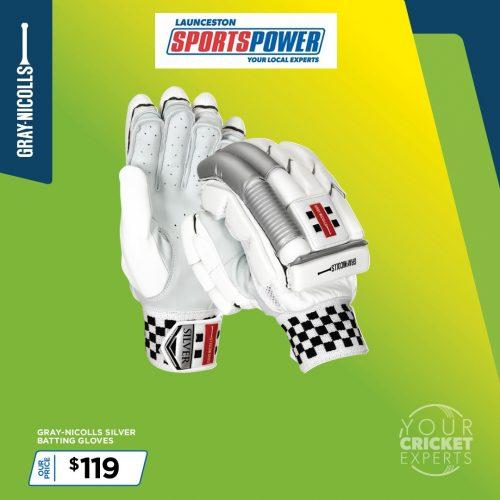 SP Gray Nicollis Silver Batting Gloves 1