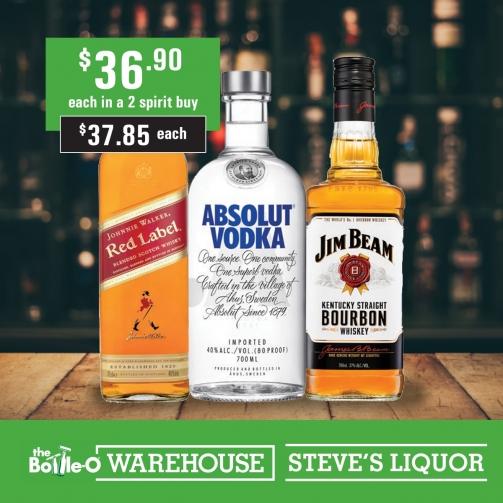 Steves JW Absolute Vodka J Beam 36 90