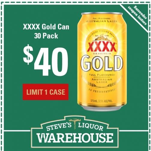 Steves xxxx Gold 30pk